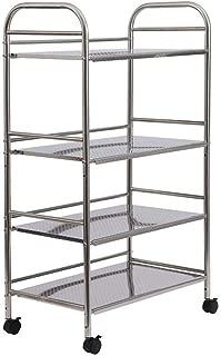 li@ 201 Stainless Steel 4-Tier Kitchen Storage Rack Trolley, Kitchen Microwave Rack with Wheels Floor-Standing Finishing Shelf