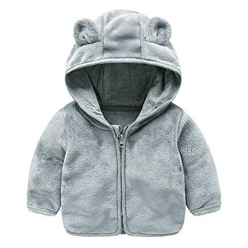 Heternal Winter Warm Coat Jacket Baby Boys Girls Hoodie Sweatshirt Long Sleeve Adorable Coral Fleece Ears Hat Clothes 6 12 Months Gray