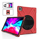 TH000 Rugged case for iPad Pro 12.9-inch 4th Generation 2020 Shockproof Heavy Duty Protective Cover with Soft Screen Protector/rotatable Kickstand & Hand Strap/Adjustable Shoulder Strap