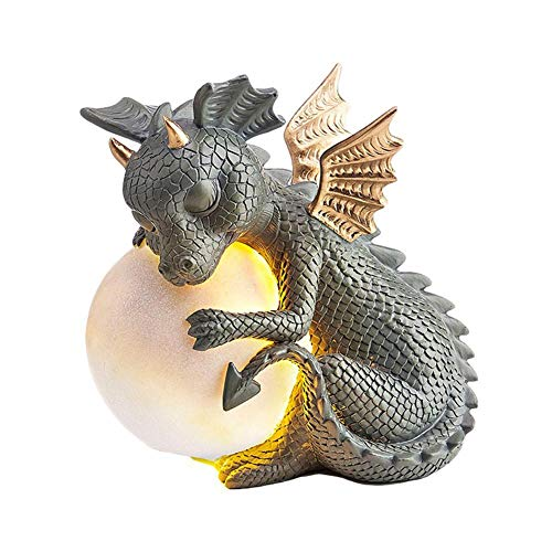 Adornos de decoración de jardín, figura de dinosaurio de resina, con luces solares para exteriores, decoración de invierno para patio, patio, césped, porche, regalo de cumpleaños
