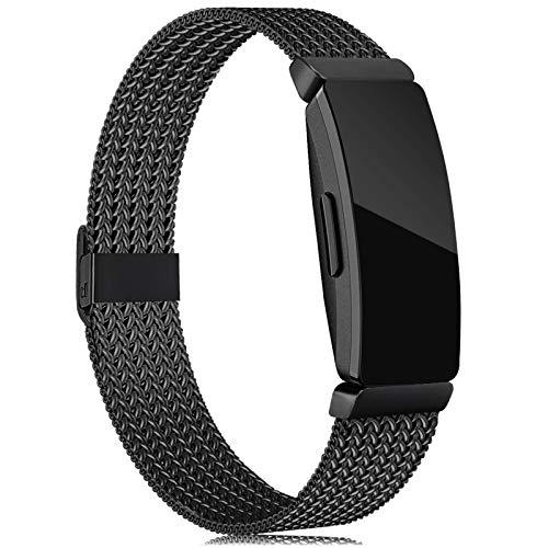 Tobheo Kompatibel für Fitbit Inspire HR Armband/Inspire Armband/Inspire 2 Band/ACE 2 für Damen Herre Metall Ersatzarmband Schwarz,(kein Fitness Tracker),L