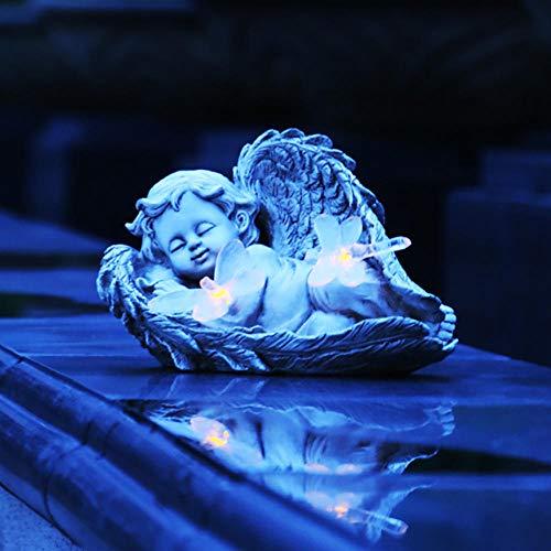QXPuSS Soalr Engel Ornament für Garten, Rasen Dekoration Miniatur Figur Statue, Smart Garden Solar Dekor für Hof Terrasse im Freien
