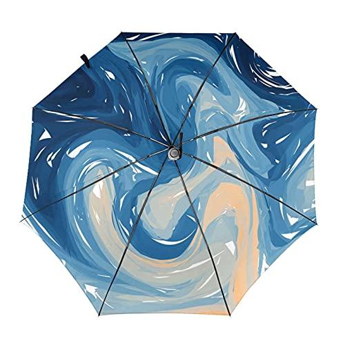 Donono Paraguas automático de tres pliegues 3d impresión azul naranja mármol mármol resistente al viento protección UV lluvia paraguas interior impresión para al aire libre