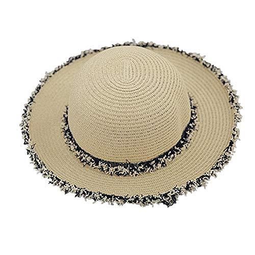 Sombrero Mujer Playa Sombrero Playa Mujer Mujeres Sombrero de Paja Verano de la Mujer Sombreros Sombrero de ala Ancha para Mujer Sol Sombrero Beige,Freesize