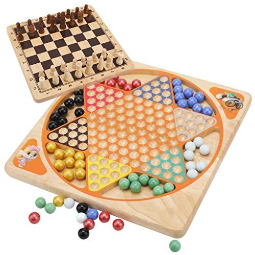 UEXCN 2-in-1 Schachspiel mit Schachfiguren und Flugschach-Kombination, aus Holz, Lernspielzeug, macht Spaß mit Kindern