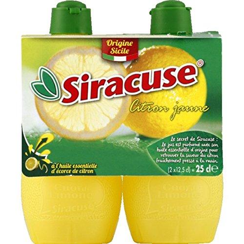 Siracuse Jus de citron jaune, à l'huile essentielle d'écorce de citron - 2 flacons de 125ml