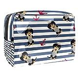 Bolsa de Maquillaje Marinero Cachorro Neceser de Cosméticos y Organizador de Baño Neceser de Viaje Bolsa de Lavar para Hombre y Mujer 18.5x7.5x13cm