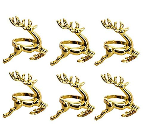 Cratone 6 Stück Serviettenringe Set Gold Serviettenhalter Metal Elch Hirsch Rentier Serviettenring Halter Weihnachten Hochzeiten Empfänge Party Tisch Dekor 6x6cm