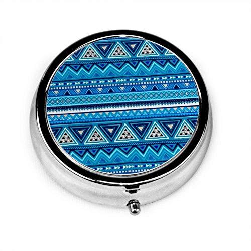 Caja del organizador de la píldora, caja de píldora portátil colorida de patrones sin fisuras mexicano nativo americano, caja de píldora redonda
