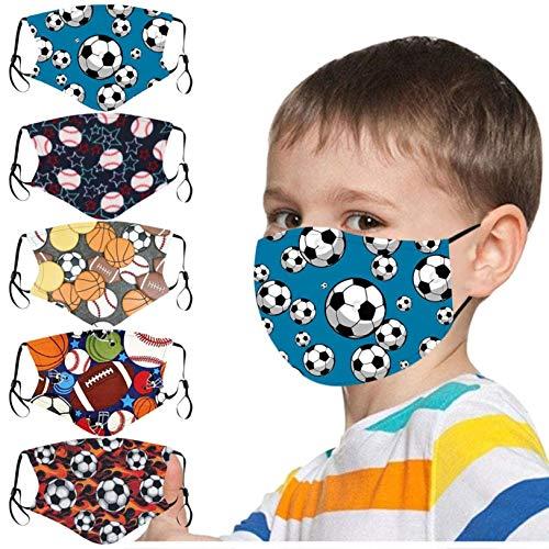 JSxhisxnuid 5 Stück Mundschutz Kinder mit Fußball Motiv Baumwolle Waschbar Atmungsaktive Mund und Nasenschutz Bandana Half Face Halstuch (5 Stück-A)