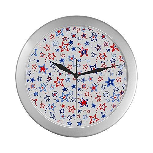 JOCHUAN Reloj de Pared de Cuarzo 4 de Julio Ilustración Reloj de Pared para Hombre 9.65 Pulgadas Decoración de Marco de Cuarzo Plateado para Oficina/Escuela/Cocina/Sala de Estar/Dormitorio