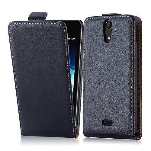 Cadorabo Custodia per Sony Xperia V in Nero Carbone - Protezione in Stile Flip di Similpelle Fine - Case Cover Wallet Book Etui