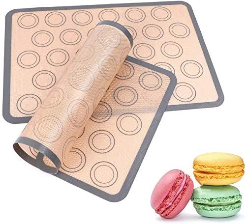 Silicone Baking Mats, Kmeivol 2 Pack Durable Baking Mat, Non-sticky Pastry Mat with Measurements, BPA Free Macaron Silicone Mat, Silicone Baking Mat, Easy to clean, for Pastry/Cake Making, 16.5x11.4