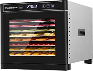 Food Dehydrator Machine Electric, thermomate 600W Stainless Steel Countertop Food Dryer, 8 Trays with Digital Temperature ...
