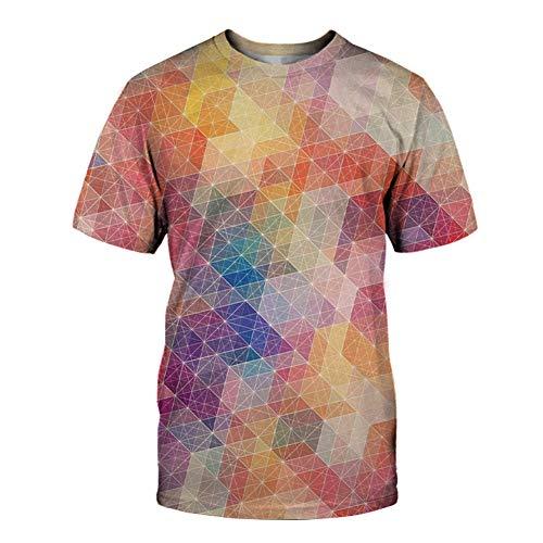 Mr.BaoLong&Miss.GO T-Shirt da Uomo T-Shirt Moda da Uomo Maglietta Casual da Uomo A Maniche Corte 3D Digitale Geometrica Creativa