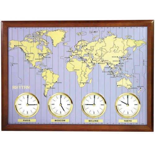 Rhythm 7902 Wanduhr Weltzeit-Uhr Quarz analog Holzrahmen mit Metallzifferblatt