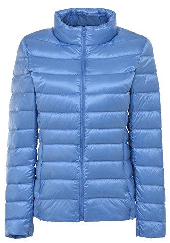 Santimon Damen Winter Warme Daunenjacke Packable Stehkragen Leichte Daunenmantel 11 Farben verfügbar Hellblau XL