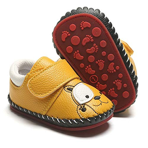 HsdsBebe Baby Boys Girls Pu Leather Hard Bottom Walking Sneakers Toddler Rubber Sole Fisrt Walkers Infant Cartoon Slippers Crib Shoes (6-12 Months Infant, Bear-Yellow)