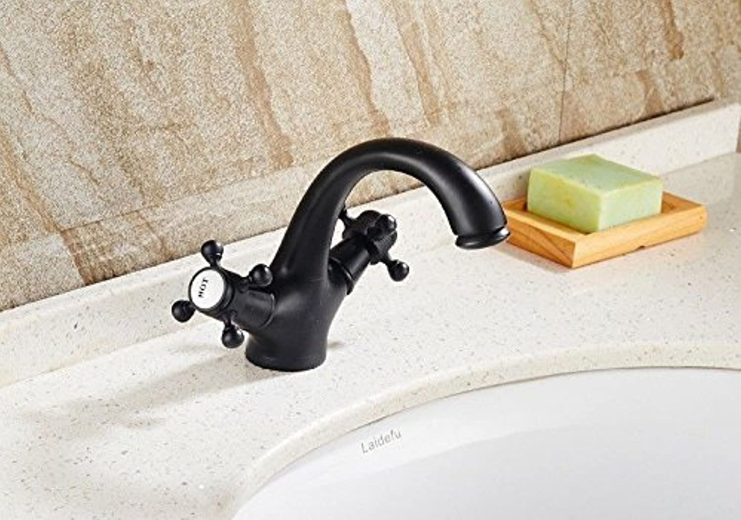 Lalaky Taps Faucet Kitchen Mixer Sink Waterfall Bathroom Mixer Basin Mixer Tap for Kitchen Bathroom and Washroom Retro Copper Hot and Cold Mixer Black
