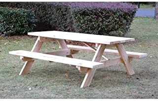 Northern Tool and Equipment Rectangular Shaped Wooden Picnic Table - 72in.L x 60in.W x 27 1/2in.H Overall Size