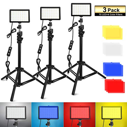 3 Packs 70 LED Video Light with Adjustable Tripod Stand/Color Filters, Obeamiu 5600K USB Studio Lighting Kit for Tablet/Low Angle Shooting, Collection Portrait YouTube Photography
