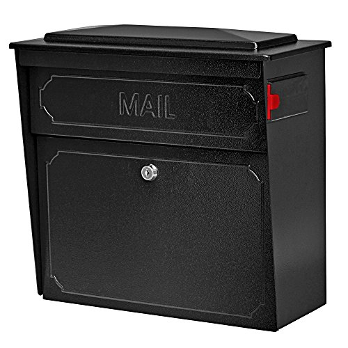 Mail Boss 7172 Townhouse, Black Home vertical wall mount security mailbox with lock and key, Pack of 1