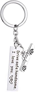 Bestwick Drive Safe Keychain Thin Stainless Steel Tag Key Rings for Husband Boyfriend Dad Trucker Driver Gift