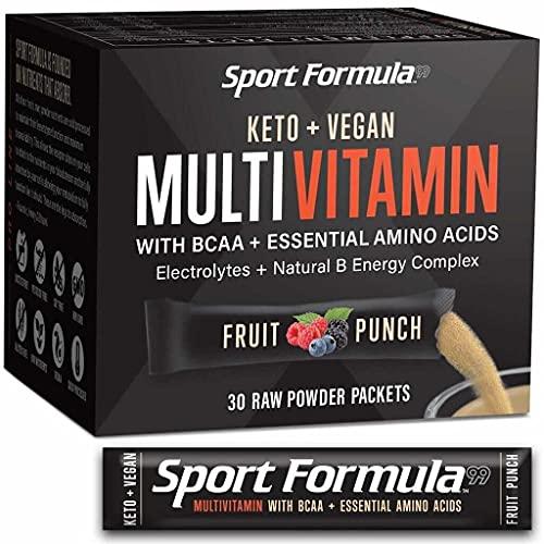 Bariatric Multivitamin Powder Drink Mix Vitamins - Keto Vegan Friendly - BCAA Won't Upset Your Stomach Daily Keto MultiVitamin for Men and Women Amino Acid Powder Fruit Punch Packet Multivitamin Powder Electrolytes