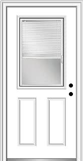 National Door Company ZFS684BLFS26L Fiberglass Smooth, Primed, Left Hand Inswing, Exterior Prehung Door, Internal Blinds, 1/2 Lite 2-Panel, 30