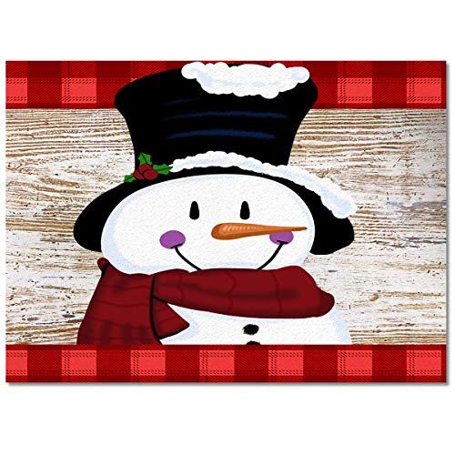 Christmas Cute Snowman Area Rug 2.7'x5' Non-Slip Floor Mat Bedroom Living Room Rug for Children Kids Adults Wooden Board Soft Rectangular Carpet for Indoor Home Decor