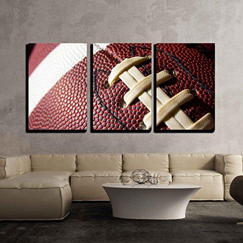 "wall26 - Closeup of Football - Canvas Art Wall Decor - 16""x24""x3 Panels"