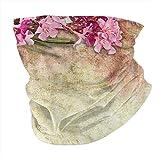 Photo de Q&SZ Sweatshirt Outdoor Headband Floral Vintage Illustration of Oleander Flowers Distressed Retro Background Pink Green Light Yellow Scarf Neck Gaiter Face Bandana Scarf Head Scarf