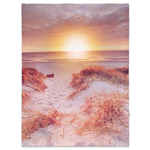Nexos LED Wandbild Leinwandbild mit Beleuchtung Fotodruck Abend am Strand 30x40 cm Kunstdruck Leuchtbild Steg 1 warmweiße LED Sonnenuntergang
