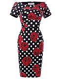 Belle Poque Robe Crayon Vintage au Genou Imprimé Polka Robe Noire a Pois Blanc Fleur Rouge Taille 34 BP117-5