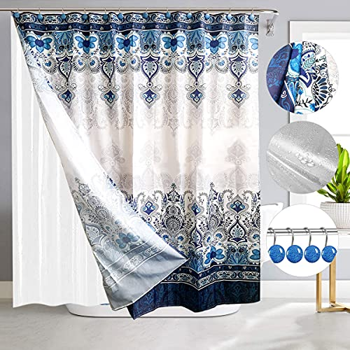 """prosfalt 2 Pcs Shower Curtain & Plastic Shower Curtain Liner, with 12 Hooks Polyester Fabric Bohemian Shower Curtains Washable Waterproof Shower Curtain Set for Bathroom (72"""" x 72"""")"""