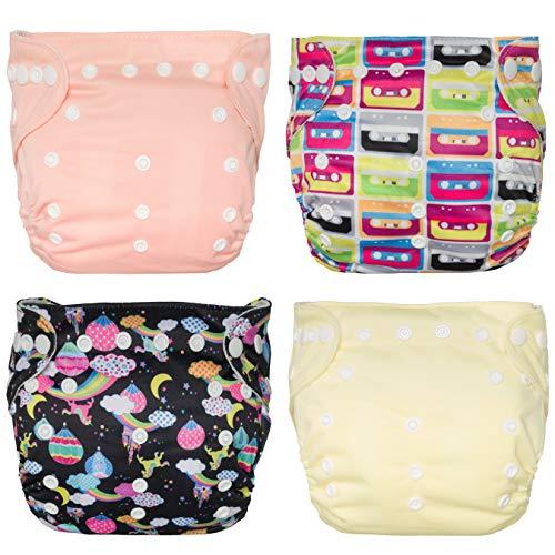 Kangawrap, Windelüberzug mit Tasche Paket von 4 Stück (einfarbiges Hellrosa, Druckkassettenbänder, Druck Einhorn-Luftballons, einfarbig hellgelb)