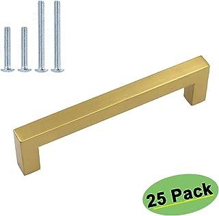 homdiy Brushed Brass Cabinet Pulls Gold Drawer Pulls 25 Pack -HDJ12GD Kitchen Cabinet Hardware 5in(128mm) Hole Centers Vintage Drawer Handles Gold Hardware