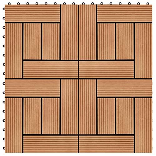 VIENDADPOW Baldosas de Porche de WPC 30x30 cm 1 m² Color Teca 11 Unidades