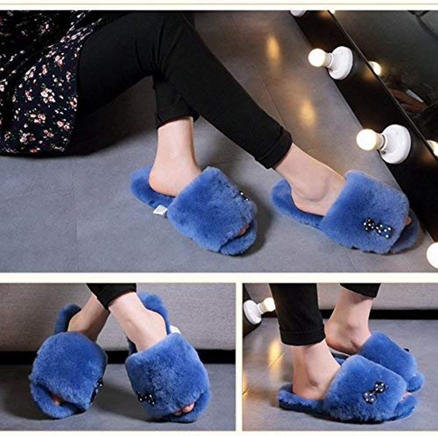Lady Slippers Ladies Casual Wool Slippers Indoors Simple Style Bow Decorative Solid color Super Soft Keep Warm in Autumn and Winter Suede Slippers