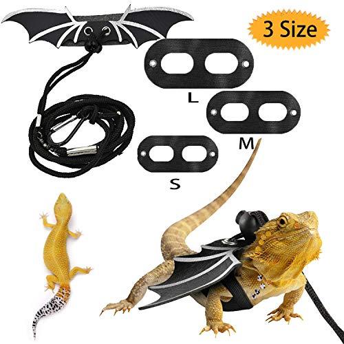 Bluesees Arnés de dragón barbado, ajustable para reptiles de piel de lagarto ligero y suave a la moda para lagarto, reptiles, anfibios y otros animales de mascotas pequeñas, 3 tamaños S/M/L
