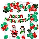 YAAVAAW Kit de Arco de Guirnalda de Globos de Navidad 100 Piezas-Feliz Navidad Bandera Papá Noel y Muñeco de Nieve Foil Green Red White Confetti Arch Balloons with Balloon Decorating Strip