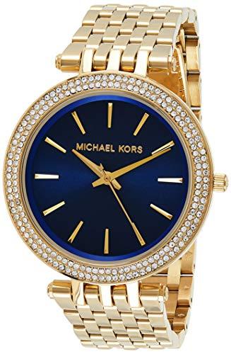Relógio Michael Kors Mk3406 Slim Dourado/Azul 42Mm