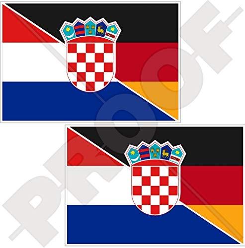 KROATIEN-DEUTSCHLAND Kroatisch-Deutsch Flagge 75mm Auto & Motorrad Aufkleber, x2 Vinyl Stickers