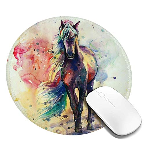 Round Mouse Pad Watercolor Horsenon-Slip Rubber Base Gaming Mouse Mat for Computer Laptop Office Desk Accessories