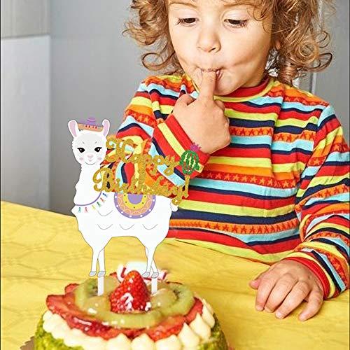 Mity Rain Llama Cactus Cake Topper - Gold Glitter Alpaca Happy Birthday Cake Picks for Mexicoan Fiesta Themed Girls Boys Baby Shower Birthday Party Cake Decorations