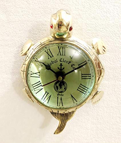 Horloge de bureau murale à suspendre en laiton brillant avec motif tortue