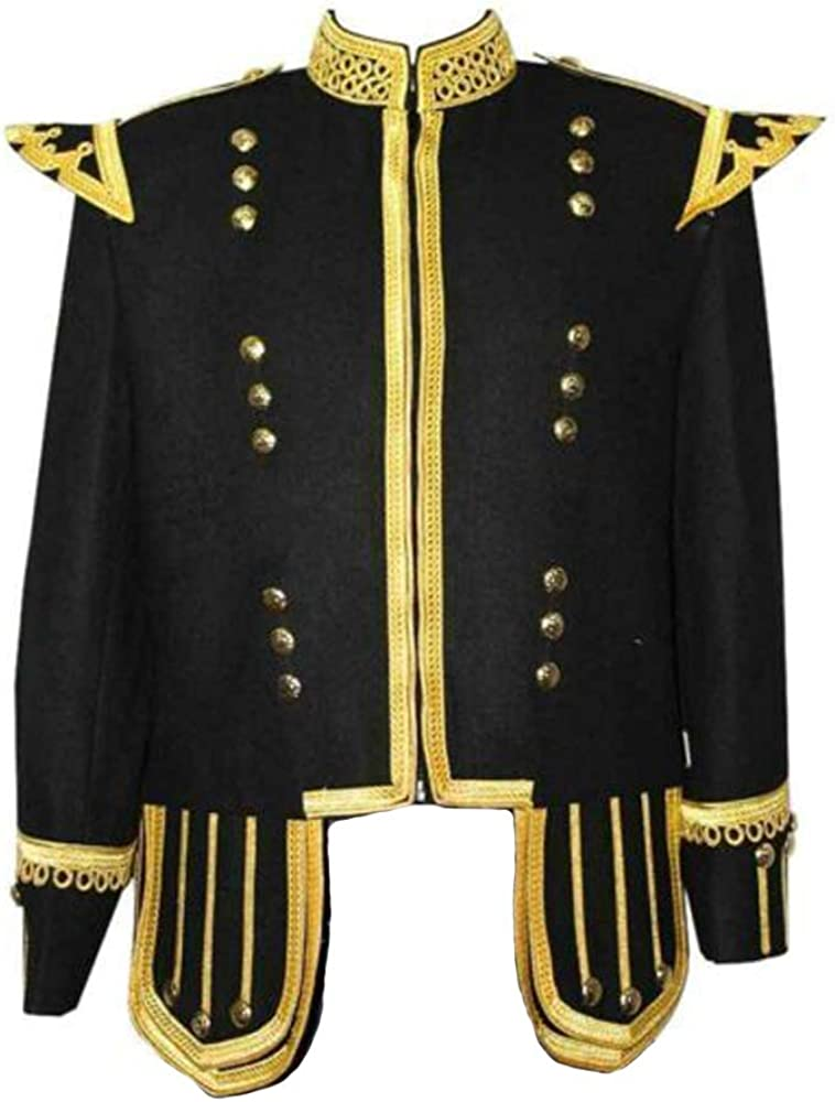 MasonicDirect 100% Wool Blend Military Piper Drummer Doublet Highland Jacket Black