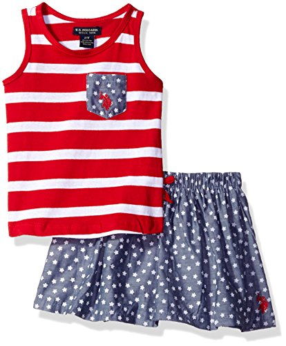 U.S. Polo Assn. Girls Toddler Tank Top and Printed Chambray Skort