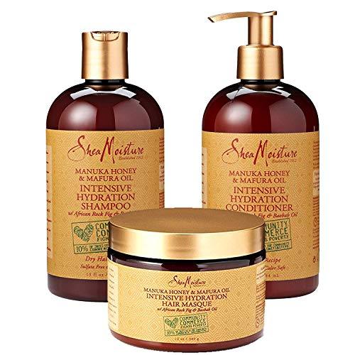 SheaMoisture Manuka Honey & Mafura Oil Intensive Hydration Combination Set – Includes 13 oz. Shampoo, 13 oz. Conditioner & 12 oz. Hair Masque