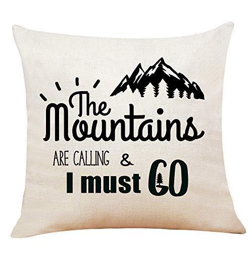 Lustige Sprüche Die Berge rufen und ich muss Kissenbezug, Geschenke, 18 x 18 Zoll Kissenbezug für Schlafsofa Home Decor werfen